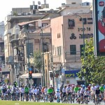 Multi riding singles in Tel Aviv.