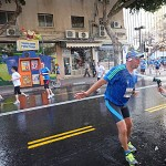 Watering the marathon runners, Tel Aviv 2013.