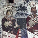 Tsar George III and Queen Tamara,fresco of the 12th century.