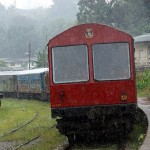 Train in rain, Peradeniya junction